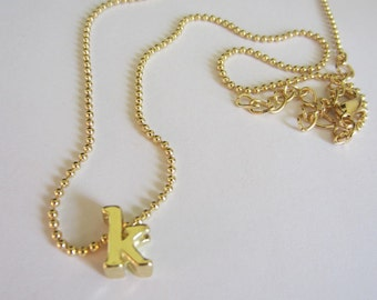 K initial Necklace - Gold Plated