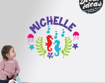 Personalized Wall Decal, Nursery Wall Decal, sea wall Decals, Under the Sea Decal, Baby Wall Decal, seahorse wall decor, Sea creatures decor