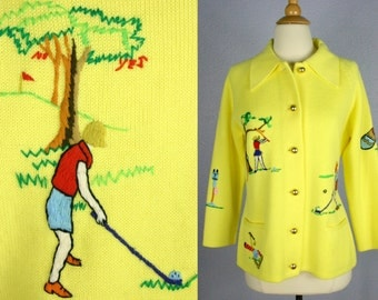 Vintage 1960s Andreno Argenti GOLF Sweater Vintage 60s Embroidered Cardigan 60s KITSCH Sweater 60s Novelty Sweater YELLOW Acrylic Sweater