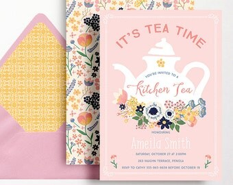 Kitchen Tea Invitation Tea Party Invitation Bridal Shower Floral Flowers Pink Tea Pot Folk Navy Yellow Tea Time Blue Invite Printable