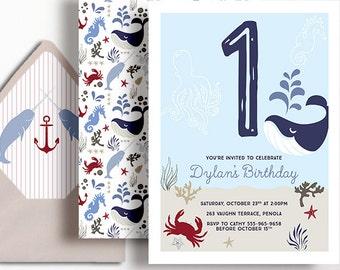 1st Birthday Invitation Boys Nautical Ocean Party Whale Anchor Beach Blue Red White Brown Crab Seahorse Printable Digital First Milestone