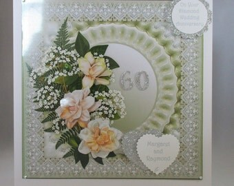 Handmade Large Diamond Wedding 60th Anniversary  Greetings Card, Decoupage, 3D Flowers Personalise, Gift Boxed