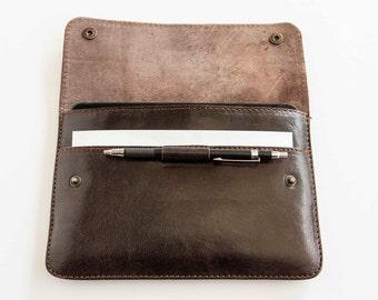 Leather slim iPad Mini case / sleeve in dark brown, handmade cover