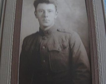 Fantastic WW1 Artillery Soldier Dress Uniform Sepia Toned Studio Folder Rare Historical Great Condition!