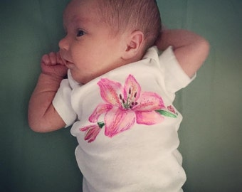 Lil' Lily hand illustrated onesie