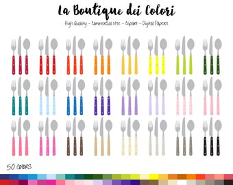 50 Rainbow Cutlery Clip art, Graphics PNG, Fork knife spoon, silverware, dinner, lunch Clipart, Planner Stickers Commercial Use