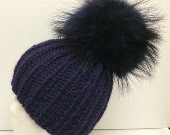 Chunky Navy Blue (Other Colors Available) Alpaca Hat - Navy Blue Raccoon Fur Pom Pom - Super Soft -