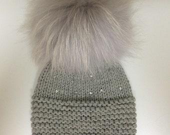 Light Grey  Wool Baby Hat - Light Grey Raccoon Fur Pom Pom - Clear Swarovski Crystals - Baby Hat - Hand Knit