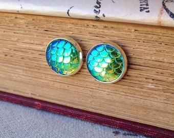 Mermaid Scale Stud Earrings/Mermaid Jewelry/Fish Scales/Nautical/Summer/Ocean/Beach/Siren Jewelry