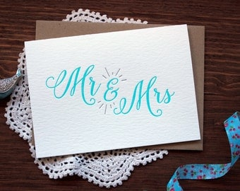 Letterpress Wedding Card - Mr and Mrs