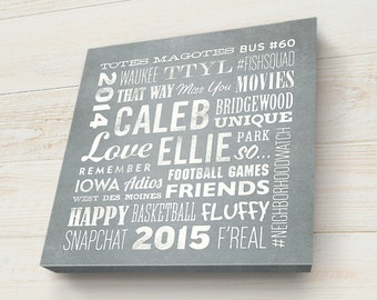 Going Away Gift, Custom Canvas, Personalized Word Art, Keepsake, Word Cloud