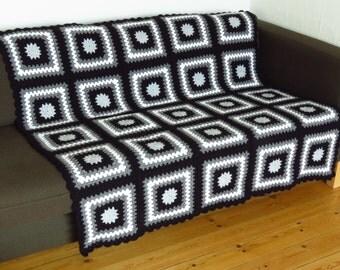 Black and Grey Blanket Grey Throw Blanket Black Blanket Black Throw Blanket Black Throw Grey Throw Grey Sofa Throw Grey Crochet Blanket