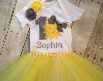 You are my sunshine first birthday outfit , 1st  birthday sun outfit - Toddler , Baby Girl personalized , 1st Birthday girl , yellow grey