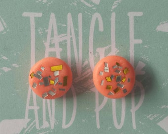 Sparkle pop, Polymer clay stud earrings with surgical steel posts