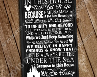 In This House We Do Disney 11 x 18 Wooden Sign FREE SHIPPING INCLUDED