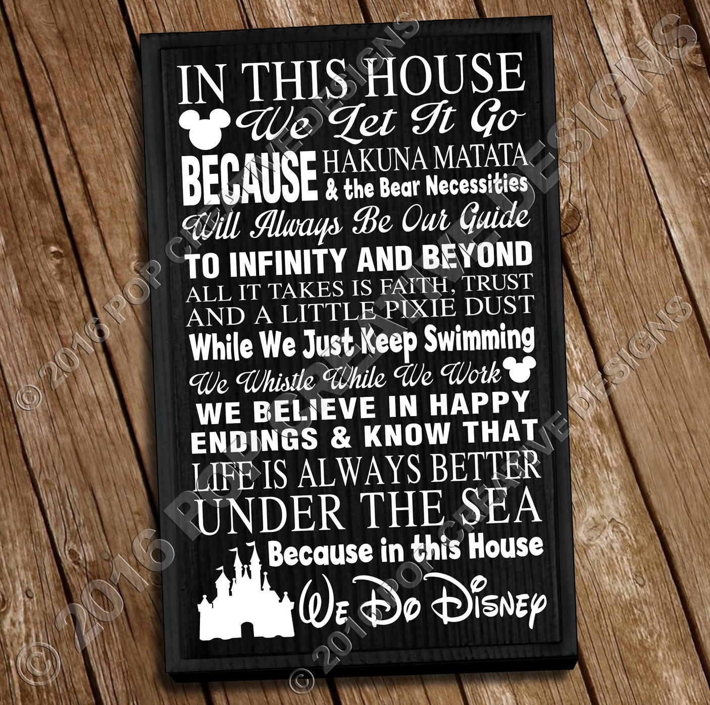 In This House We Do Disney 11 X 18 Wooden Sign Free Shipping