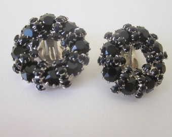 Weiss, Black, Clip-On Earrings. Faceted Jet Glass Stone Wreath