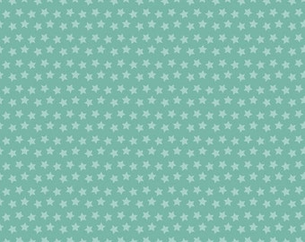 One Yard Luckie - Sirius in Turquoise - Stars Cotton Quilt Fabric - by Maude Asbury for Blend Fabrics - 101.115.05.1 (W3455)