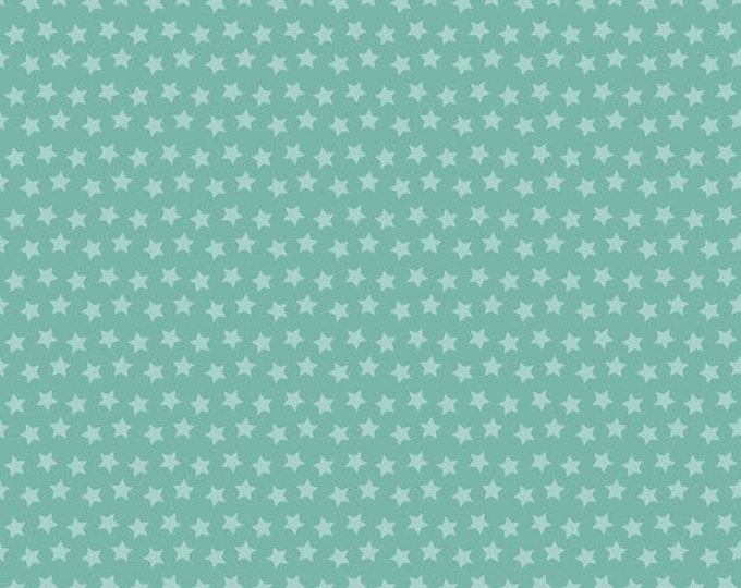 Half Yard Luckie - Sirius in Turquoise - Stars Cotton Quilt Fabric - by Maude Asbury for Blend Fabrics - 101.115.05.1 (W3455)