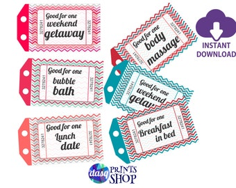 INSTANT DOWNLOAD Printable Love Coupons -  Gift for Husband or Boyfriend  With Editable Text