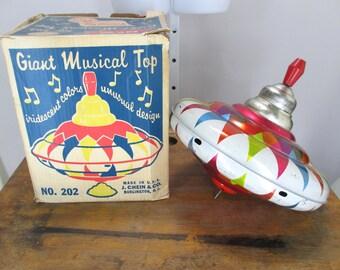 Vintage Jumbo Tin Musical Top by J. Chein & Co. USA