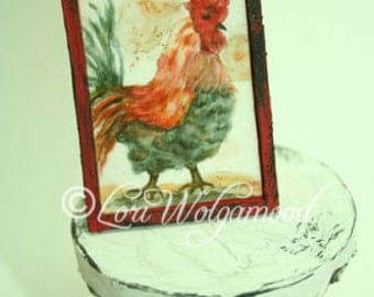 Rooster No.6 Framed Print - Handmade Miniature Shadow Box Diorama Room
