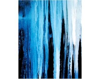 Fine Art Prints, Abstract Photography, Blue Abstract Art, Icicle Photography, Vertical Wall Art, Abstract Nature, Winter Photography Prints