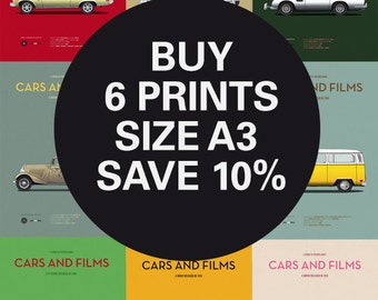 Discount Set - Movie posters - Any 6 Prints A3 - Save 10% - Size A3 - Carsandfilms