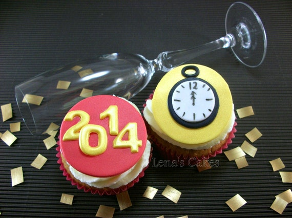 New Years Cupcake Fondant Edible Toppers, New Years Eve ...