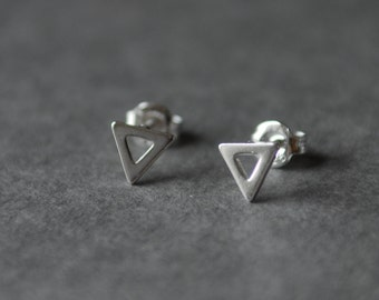 Triangle *SILVER*  earring , studs, Sterling Silver
