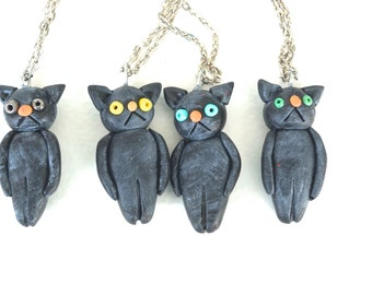 Black Cat Pendant for Halloween from Polymer clay folk art primitive goth