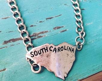 South Carolina Bracelet South Carolina Jewelry Hand Stamped Carolina Native Home Is Where The Heart Is Country Rustic Carolina Jewelry South