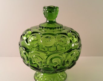 Vintage LE Smith Glass Green Moon and Stars Candy Dish with Lid. 1970's Glassware. Collectibles. Retro, Mod Home Decor.