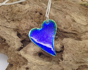Fine Silver & Blue with a hint of Green Glass Enamel Lazy Heart Pendant