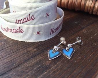 Fine Silver & Dark Blue Glass Enamel Heart Studs
