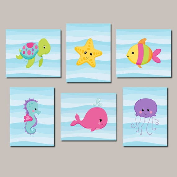 Bathroom Sea Wall Decor : Girl nursery wall art sea life animals under the