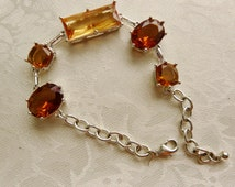 Vintage Large Amber Faceted Stones Silvertone Bracelet NRT Smithsonian Institution Gifts Under Fifty Dollars Birthday Gifts Collectibles