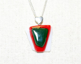 Fused Glass Necklace - Red Green & White Fused Glass Pendant - Christmas Jewelry