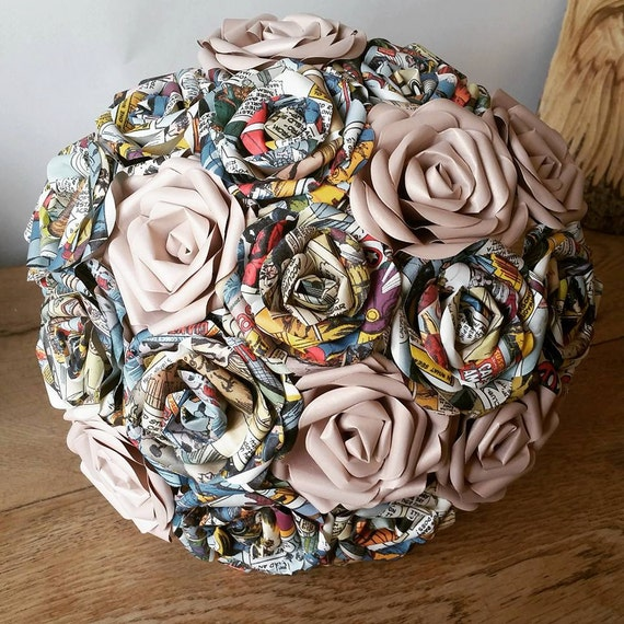 marvel dc comic superhero wedding theme paper flower bouquet