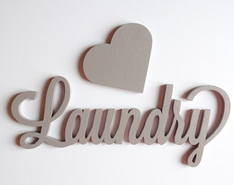 Wooden lettering for laundry and bath