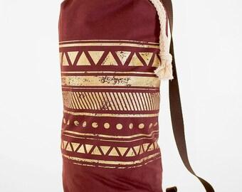 Handmade bag Berlin, maroon color bag, crossbody bag,  maroon, Travel bag, gold print, screen printed, one strap bag, Alcantara