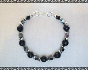 black bracelet, hematite bracelet, onyx bracelet, hematite, black