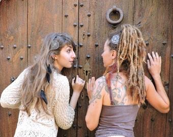 Boho hair clip, hippie chic hair pin, tribal gipsy hair pin, feathers hair pin, gemstone hair clip, hair accessories.