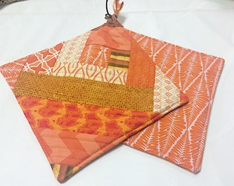 Orange Potholders - set of 2