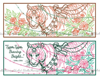 Arabesque Tiger - Coloring Page Bookmark