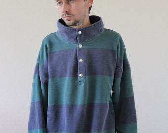 Striped Henley Faded Fishtail 90s Long Sleeve Shirt Mens XL