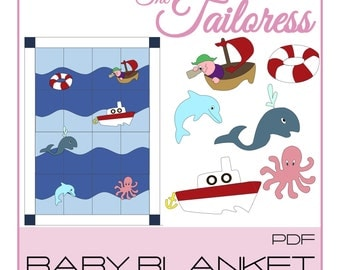 Nautical Baby Blanket PDF Sewing Pattern