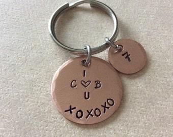 Copper 7 year Anniversary keepsake, Boyfriend, Girlfriend gift.hand stamped personalized keychain.