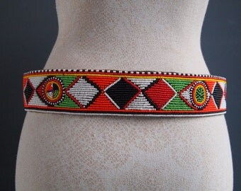 Vintage belt - beaded belt - leather belt - ethnic belt - hippie belt - gypsy belt - boho belt - festival fashion - belly dancer