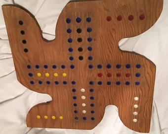 Handmade Vintage Wooden Chinese Checkers Board